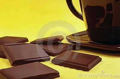 Bar of chocolate and hot chocolate