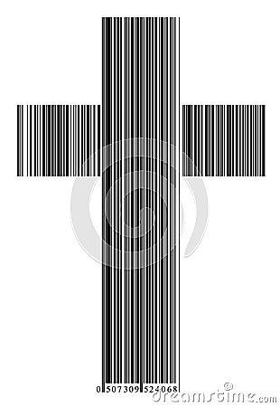 Bar code in a cross