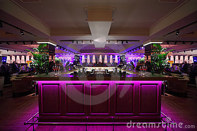 Bar Counter With Illumination In Restaurant Stock Photos - Image: 23996733