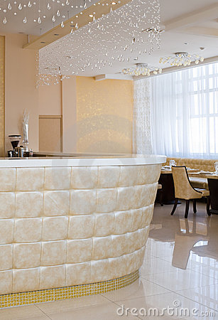 Bar with crystal curtain in restaurant