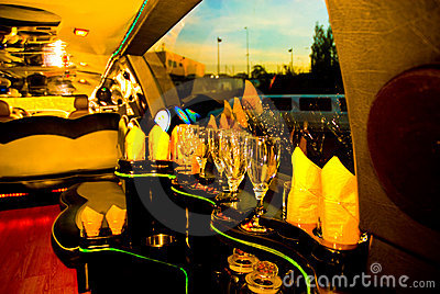 Bar inside modern limousine
