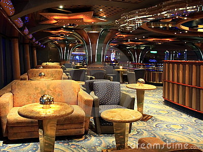 Bar interior on the cruise ship