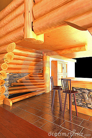 Bar in a log cabin