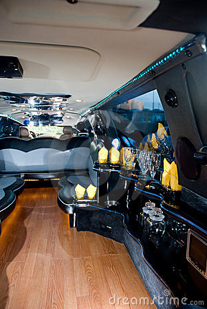 Bar in a modern limo