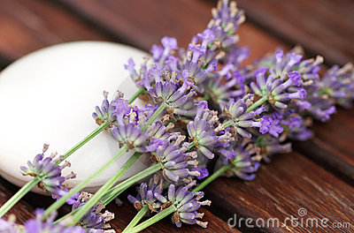Bar of natural soap with lavender flowers