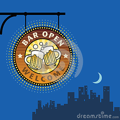 Free Bar Open Sign Royalty Free Stock Images - 27025689