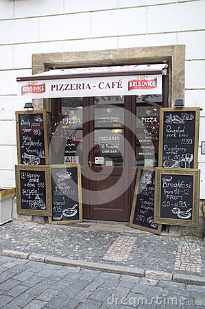 Pizza and coffee in Prague Editorial Stock Photo