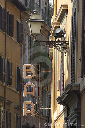 Bar sign in the old street of Rome