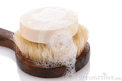 Bar of Soap on a Bath Brush