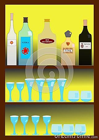 Bar with spirits