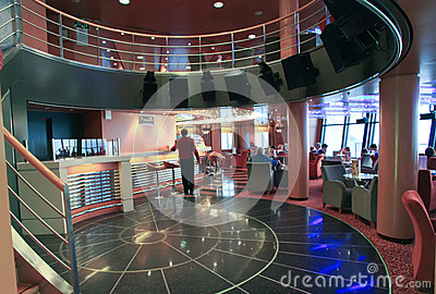 Bar in Superfast ship Editorial Stock Photo
