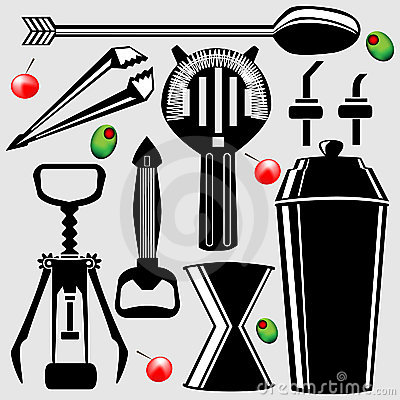 Free Bar Tools In Vector Silhouette Royalty Free Stock Image - 8861606