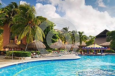 Bar in tropical swimming pool