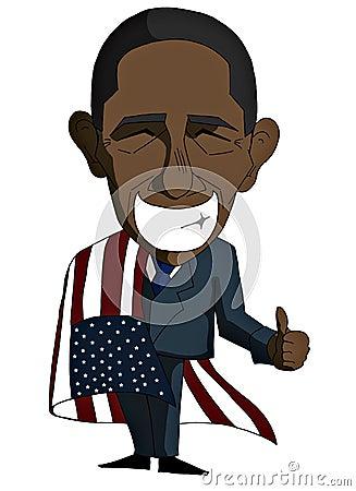 Smiling Barack Obama in a cartoon version