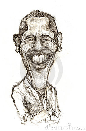 Barack Obama caricature Editorial Stock Photo