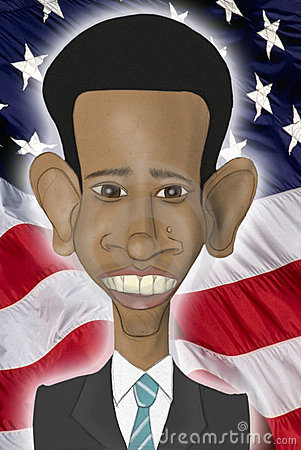 Barack Obama caricature Editorial Stock Image