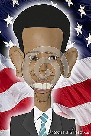 Barack Obama caricature Editorial Stock Image