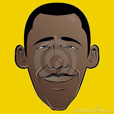 Barack Obama Cartoon Face Editorial Photo