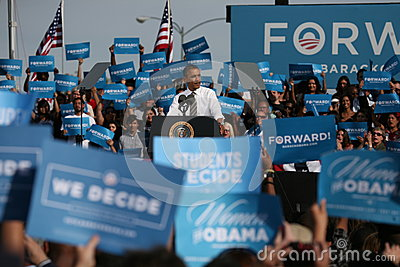 Barack Obama em Las Vegas Foto Editorial