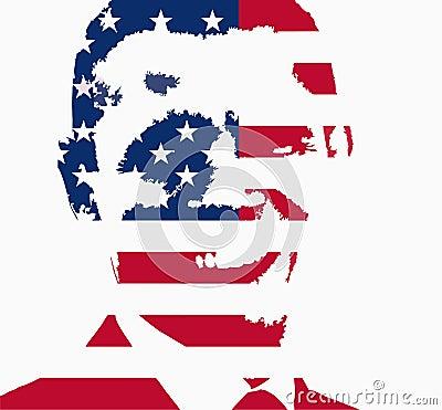 Barack Obama flag illustration Editorial Image