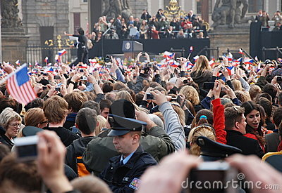 Barack Obama greeting crowd in Prague Editorial Photo
