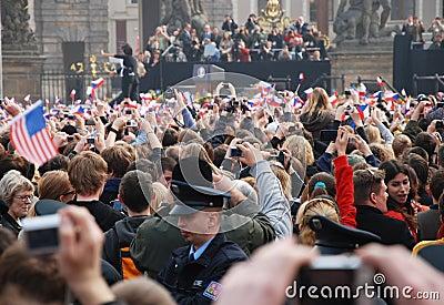Barack Obama greeting crowd in Prague Editorial Photo