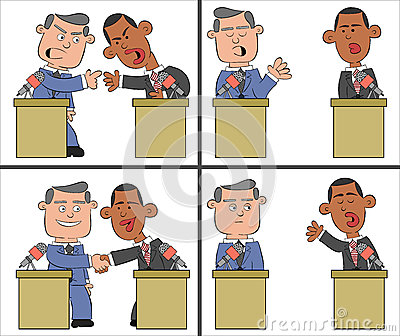 Barack Obama and Mitt Romney Cartoon 2 Editorial Stock Image