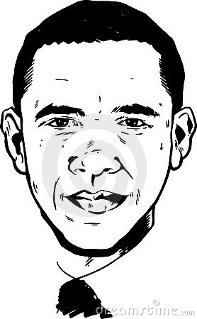 Barack Obama portrait - black and white Version Editorial Stock Image