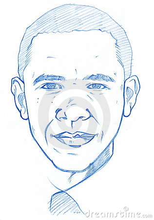 Barack Obama portrait - Pencil Version Editorial Photography