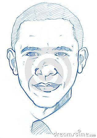 Barack Obama portrait - Pencil Version Editorial Photography