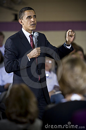 Barack Obama at rally Editorial Stock Image