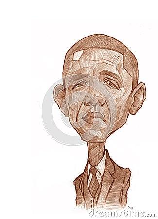 Barack Obama Sketch Editorial Photo