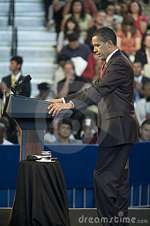 Barack Obama Speaking at a Town Hall Editorial Stock Image