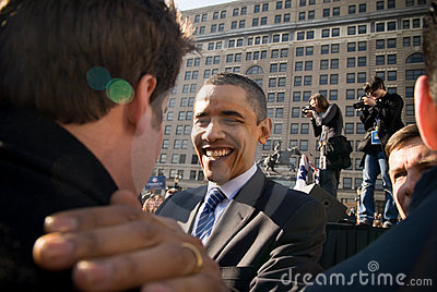Barack Obama with Supporter Editorial Photo