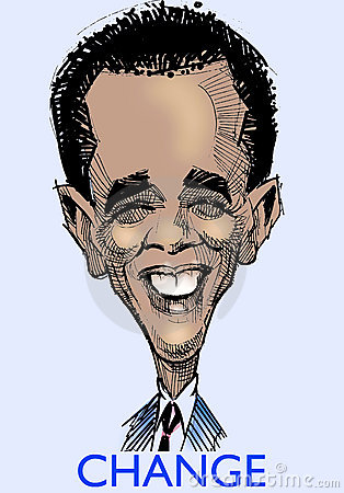 Barak Obama caricature  s Editorial Photography