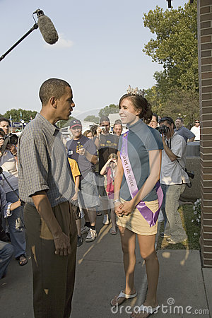 Barak Obama meeting Miss Iowa State Fair Editorial Image