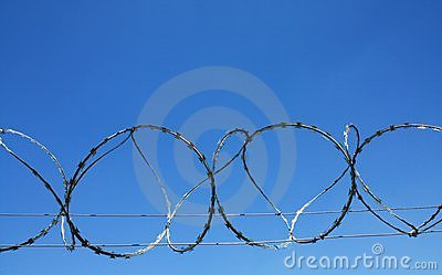Barb wire prison fence