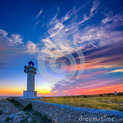 Barbaria Berberia Cape Lighthouse Formentera sunset