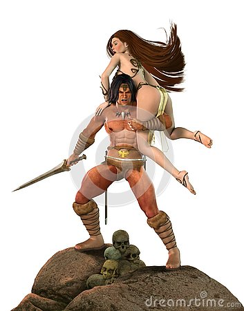 Free Barbarian Fantasy Warrior Fights For Princess Royalty Free Stock Images - 128117329