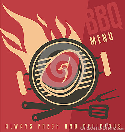 Grill Cover Menu Vector Document Template Barbecue Ad Flat Design