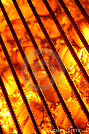 Free Barbecue Grill And Fire Hot Coals Background Stock Image - 5829051