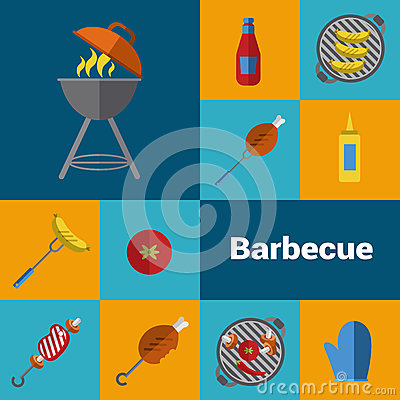 Barbecue grill icons set. BBQ concept. Cartoon Illustration