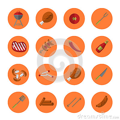 Barbecue grill round icons set Cartoon Illustration