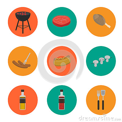 Barbecue grill round icons set Vector Illustration
