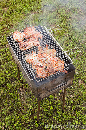 Barbecue with grilling chicken