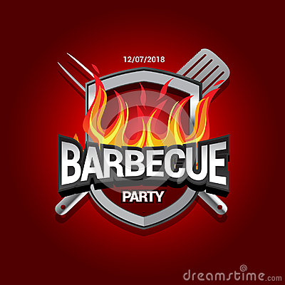 Free Barbecue Party Design With Fire On Shield, Barbecue Invitation. Barbecue Logo. BBQ Template Menu Design. Barbecue Food Flyer. Stock Images - 94895044