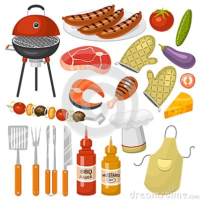 Free Barbecue Party Products BBQ Grilling Kitchen Outdoor Family Time Cuisine Vector Icons Illustration Royalty Free Stock Photos - 100680938