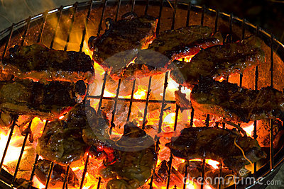 Barbecue sirloin steak grilled