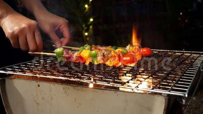 Barbecue Spicy dispara sobre a churrasqueira Produtos hortícolas, carne de porco e frango grelhados com pimentos para sino Churra filme