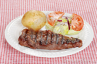 Barbecue steak with salad and baked potato